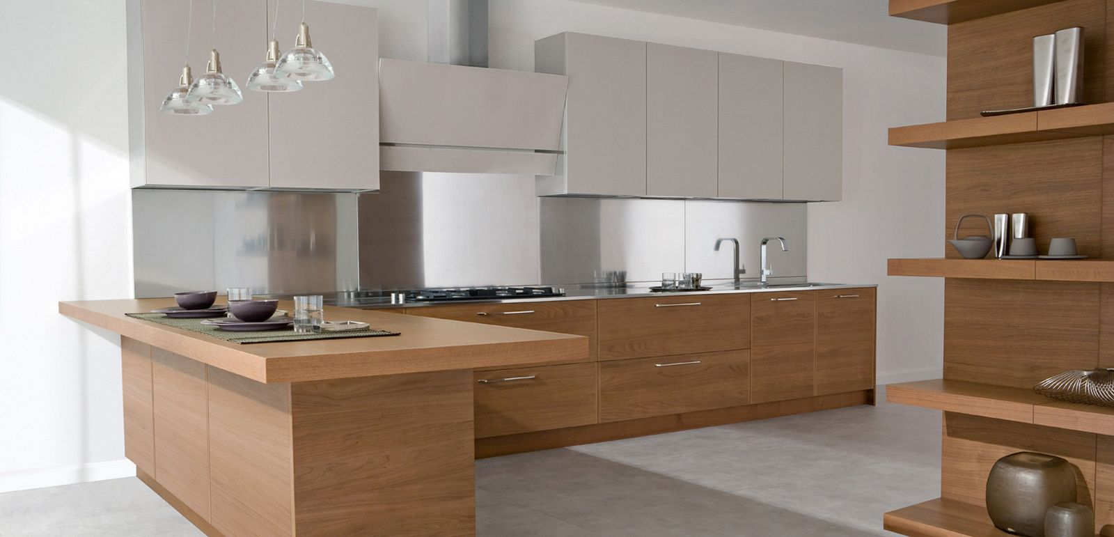 Modern kitchens in wooden finish allarchitecturedesigns for Contemporary oak kitchen cabinets