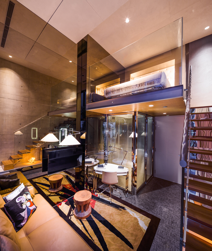 Interior of M social hotel designed by Philippe Starck