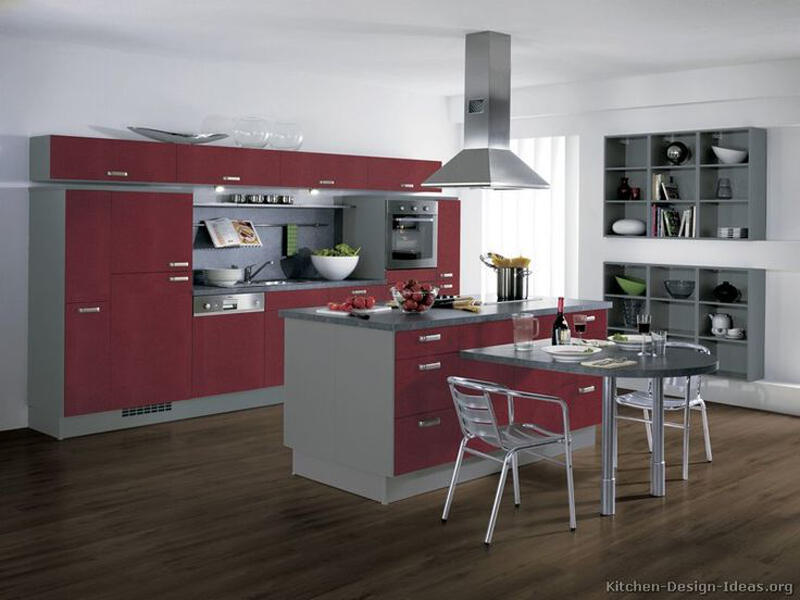 Deep Maroon Kitchen Island